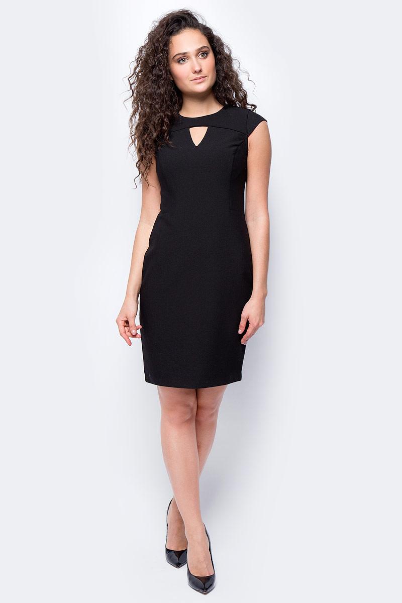 Платье женское adL, цвет: черный. 12432195000_001. Размер XS (40/42)12432195000_001Стильное приталенное платье выполнено из эластичного комбинированного материала. Модель без рукавов с фигурным вырезом горловины отлично дополнит ваш гардероб.