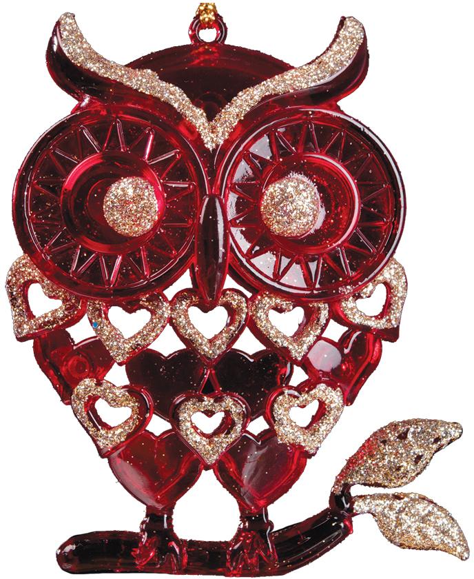 Украшение для интерьера новогоднее Erich Krause Сова на веточке, 10 см36039Прозрачная фигурка совы выполнена в красном цвете. Изделие частично декорировано сверкающими золотыми блестками. Упаковка - полибэг.