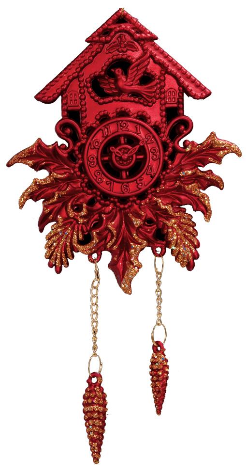 Украшение для интерьера новогоднее Erich Krause Часы с кукушкой, 18 см. 3685036850Популярная модель часов с кукушкой представлена в насыщенно-красном цвете. Блестящие шишки на тонких золотистых цепочках добавляют элемент игривости украшению.Новогодние украшения всегда несут в себе волшебство и красоту праздника. Создайте в своем доме атмосферу тепла, веселья и радости, украшая его всей семьей.