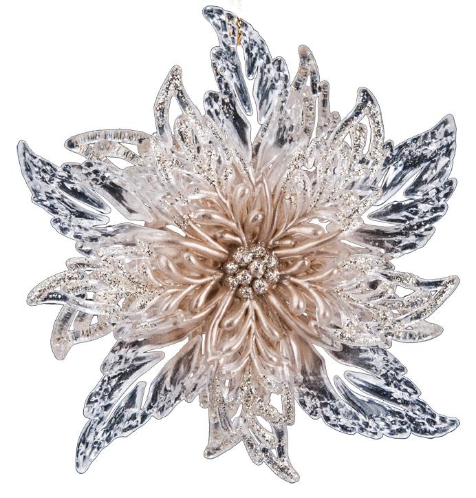 Украшение для интерьера новогоднее Erich Krause Рождественский цветок, 11,5 см38155Украшение в виде цветка, имеющего объемную текстуру, украшено сверкающими блестками. Упаковка - полибэг.