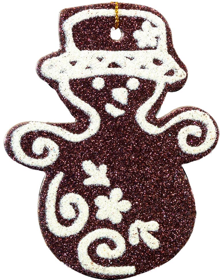 Украшение для интерьера новогоднее Erich Krause Снеговик в шляпе, 9 х 7 см41051Плоское украшение в виде снеговика выполнено из пресованного картона и покрыто сверкающими блестками. Упаковка: пакет с хедером.