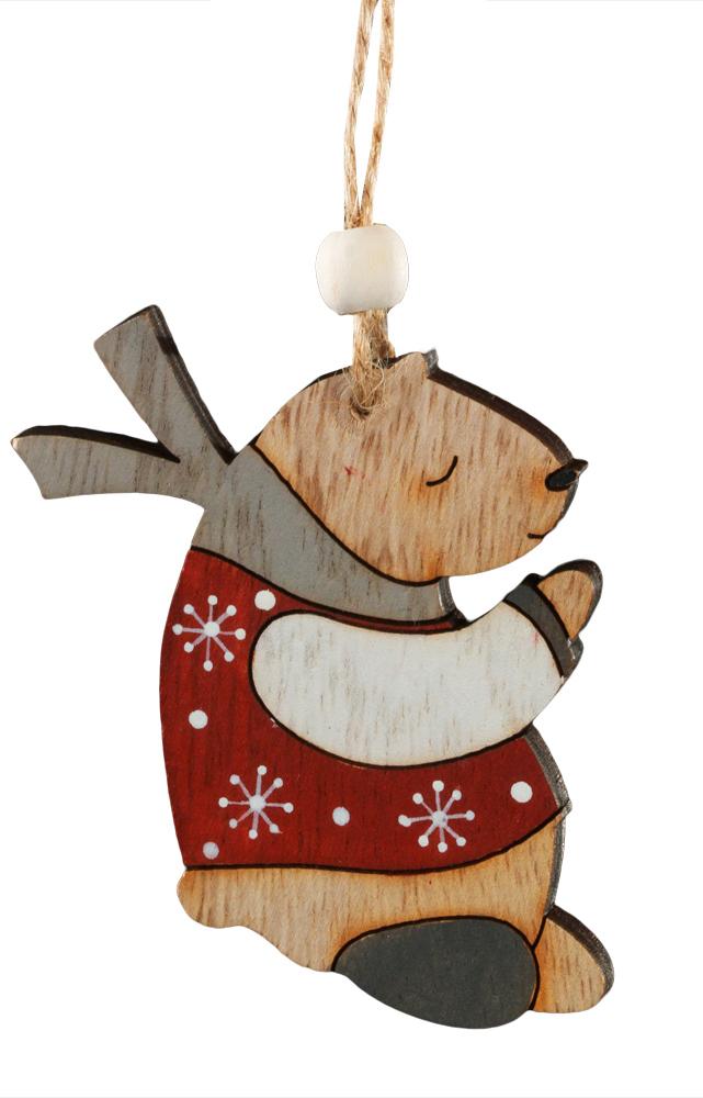 Украшение для интерьера новогоднее Erich Krause Медвежонок, 7 см43845Украшения из древесины - тренд в области праздничного декора. Легкие и безопасные в использовании, на елке они смотрятся очень необычно. Спящий медвежонок, в свитере и шарфе, очаровывает своим изяществом и простотой исполнения. Новогодние украшения всегда несут в себе волшебство и красоту праздника. Создайте в своем доме атмосферу тепла, веселья и радости, украшая его всей семьей.