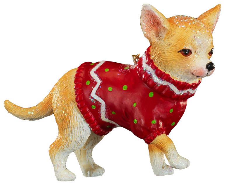 Украшение для интерьера новогоднее Erich Krause Чихуахуа в свитере, 10 см43878Милый чихуахуа, выполненный из полирезины, отличается точно прорисованными деталями. Образ дополняет красный новогодний свитер. Можно использовать как украшение для искусственных елок (за счет своей тяжести) или как сувенир. Новогодние украшения всегда несут в себе волшебство и красоту праздника. Создайте в своем доме атмосферу тепла, веселья и радости, украшая его всей семьей.