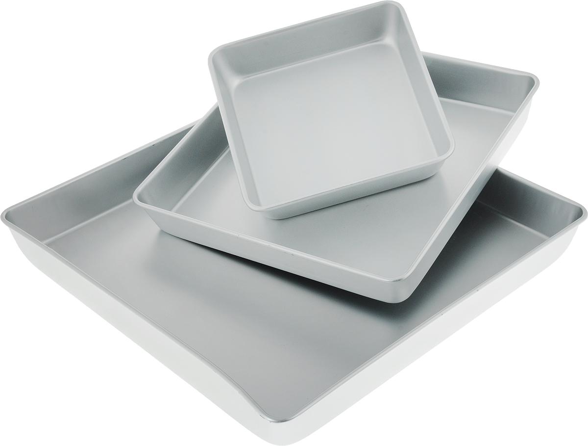 Набор форм для выпечки Wilton, квадратные, 3 штWLT-2105-2132Металлические формы разного размера для выпечки бисквита для многоуровневого торта. Материал: пищевой алюминий.