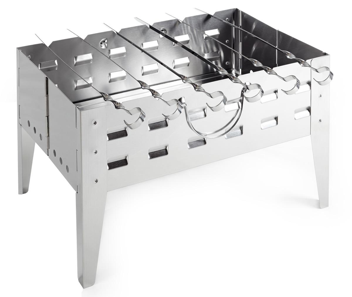 Мангал портативный Higashi, складной, с 6 шампурами. A723BSA723BSСкладной мангал, простой и удобный в сборке. В комплект входит набор шампуров (6 штук) и сумка для переноски. Размер в собранном виде: 51 х 32 х 5,5 см. Размер в рабочем состоянии 51 х 32 х 30 см. Вес: 3,29 кг. Материал: нержавеющая сталь. Толщина стали 0,6 мм.