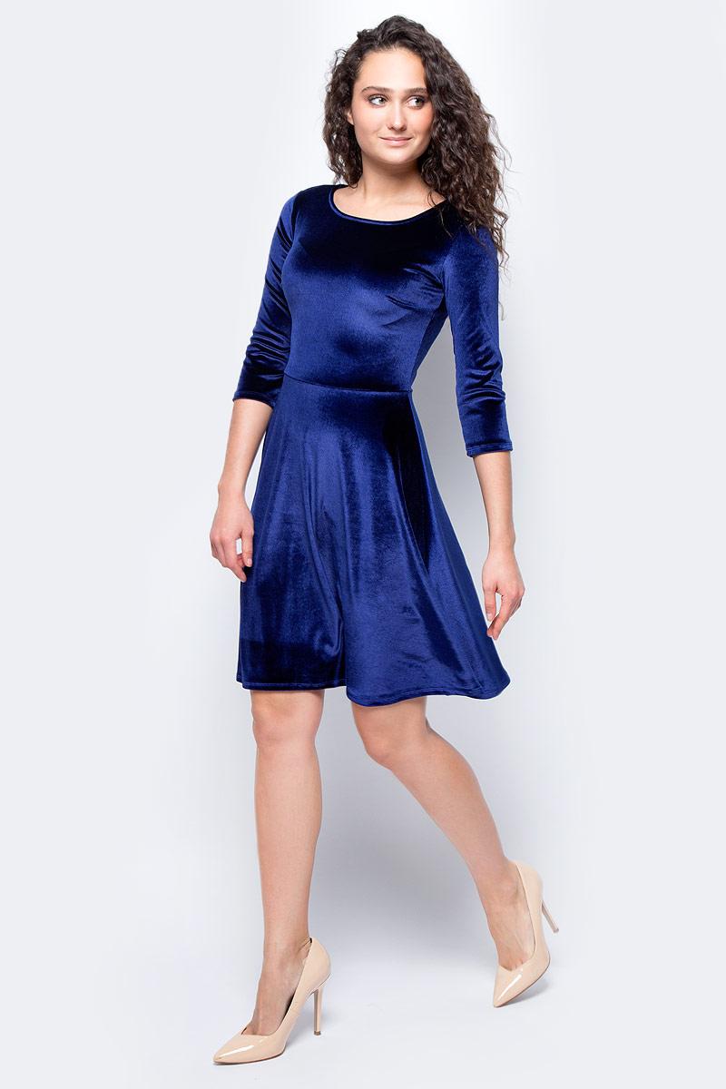 Платье женское adL, цвет: темно-синий. 12433081000_018. Размер M (44/46)12433081000_018Стильное приталенное платье выполнено из эластичного полиэстера. Модель с рукавами 3/4 и круглым вырезом горловины отлично дополнит ваш гардероб.
