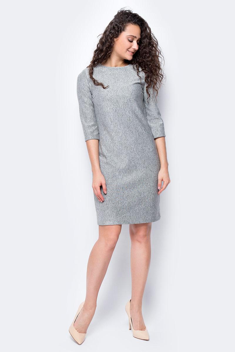 Платье женское adL, цвет: серый. 12432945000_017. Размер S (42/44)12432945000_017Стильное платье приталенного покроя выполнено из 100% полиэстера. Модель с рукавами 7/8 и круглым вырезом горловины отлично дополнит ваш гардероб. Платье на спинке имеет застежку-молнию.