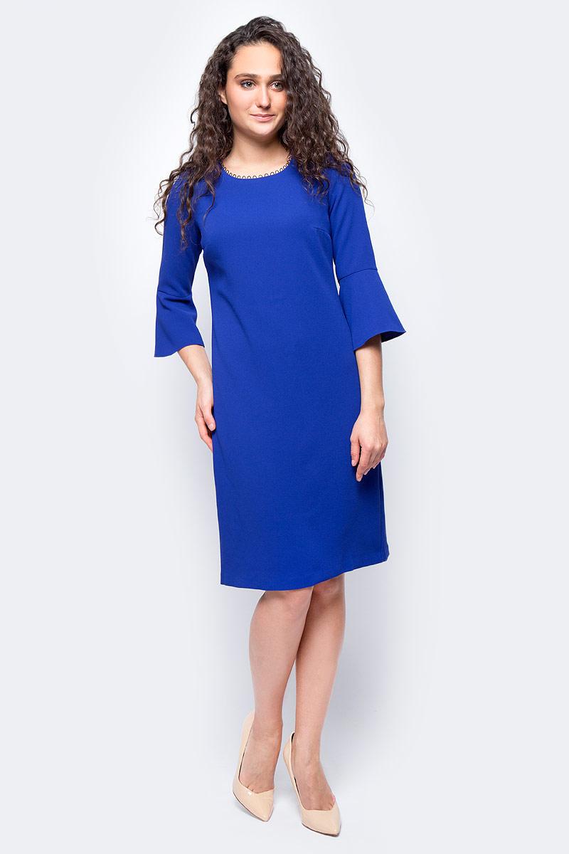 Платье женское adL, цвет: синий. 12432152000_022. Размер S (42/44)12432152000_022Стильное платье свободного покроя выполнено из полиэстера. Модель с рукавами 7/8 и круглым вырезом горловины отлично дополнит ваш гардероб.