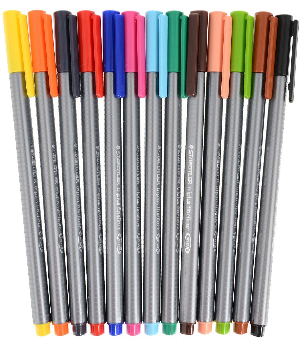 Набор капиллярных ручек Staedtler Triplus с пишущим узлом повышенной прочности можно использовать как в офисе, так и в школе. Также набор идеально подойдет для творчества. Чернила на водной основе, их легко отстирать с большинства тканей. Толщина линии - 0,3 мм.  В набор входят 13 разноцветных ручек.