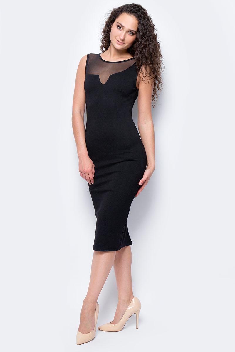 Платье женское adL, цвет: черный. 12429630002_001. Размер L (46/48)12429630002_001Элегантное платье макси длины выполнено из комбинированного материала. Модель с круглым вырезом горловины приталенного силуета станет отличным дополнением вашего гардероба.
