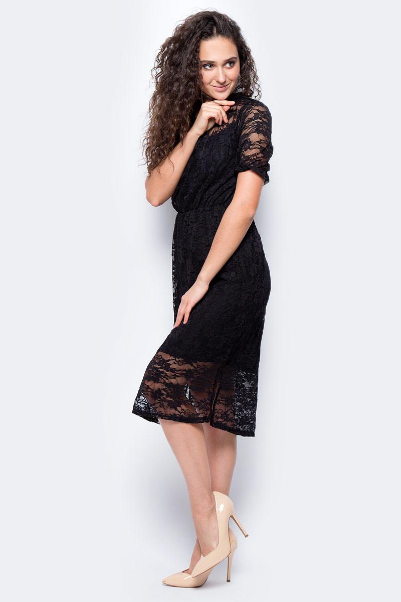 Платье женское adL, цвет: черный. 12433181000_001. Размер S (42/44)12433181000_001Элегантное платье, выполненное из комбинированного материала, станет отличным дополнением к вашему гардеробу. Модель с круглымвырезом горловины и короткими рукавами сзади застегивается на пуговицу. В поясе платье дополнено эластичной резинкой.