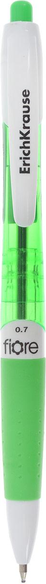Erich Krause Ручка шариковая Fiore цвет корпуса зеленый синяя17722_зеленыйАвтоматическая шариковая ручка. Цвет чернил- синий. Корпус из полупрозрачного пластика. Пишущий узел 0. 7 мм обеспечивает чистое и четкое письмо, а мягкий резиновый грип препятствует скольжению пальцев при письме и позволяет ручке удобнее лежать в руке. Сменный стержень. Рекомендуется использовать стержень ErichKrause.
