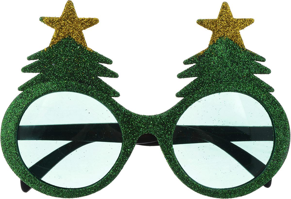 Partymania Очки для вечеринок Елочки цвет золотой зеленый -  Очки карнавальные