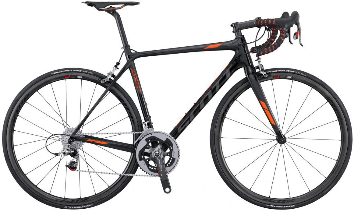 Велосипед шоссейный Scott Addict SL 2016, цвет: черный, рама 23, колесо 28265315