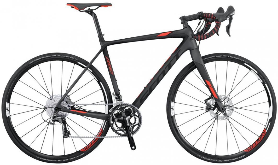 Велосипед шоссейный Scott Addict 20 Disc 2016, цвет: черный, рама 21, колесо 28265348