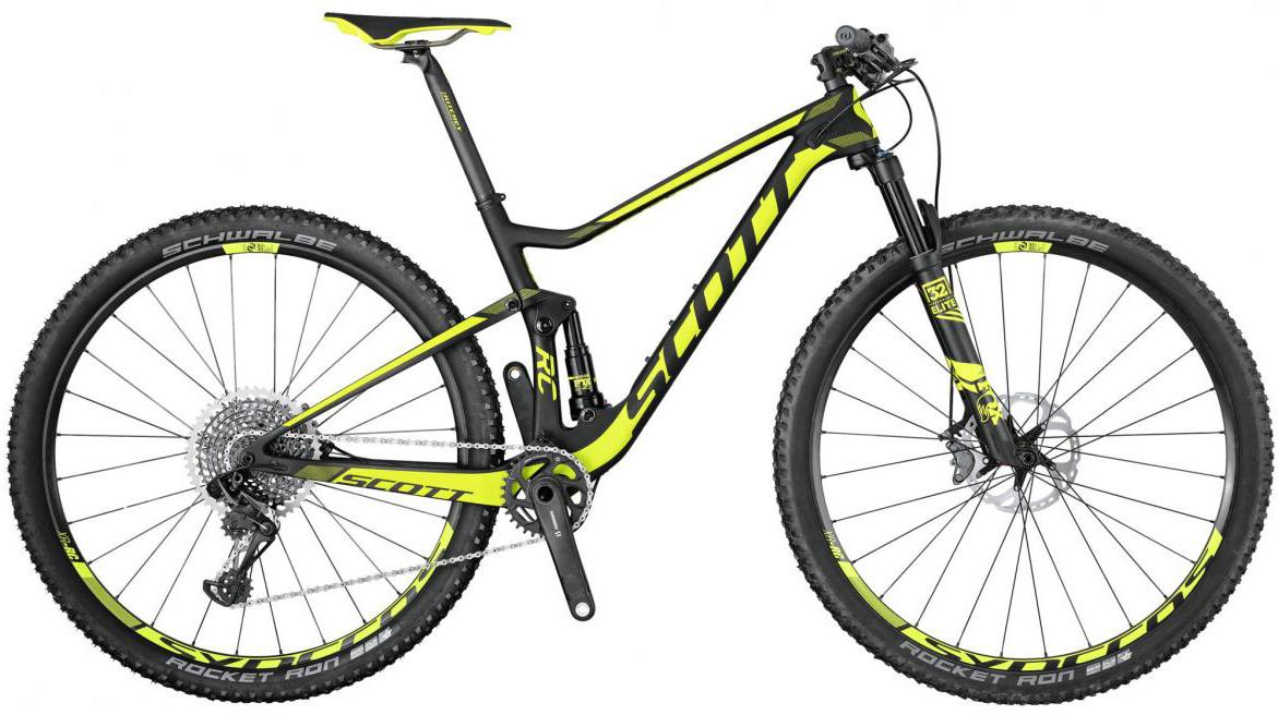 Велосипед горный Scott Spark RC 900 World Cup 2017, двухподвесный, цвет: желтый, рама 18, колесо 29276002