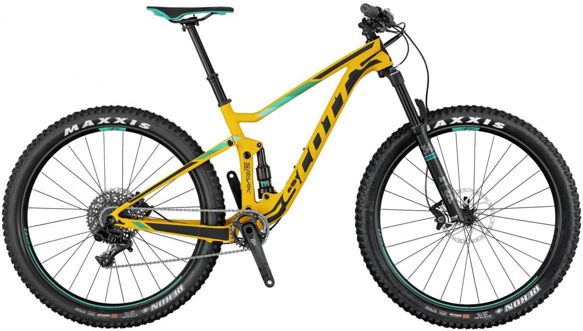 Велосипед горный Scott Spark 720 Plus 2017, двухподвесный, цвет: желтый, рама 20, колесо 27,5276061