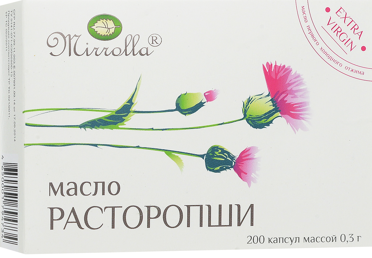 Масло Расторопши Mirrolla, 200 шт x 0,3 г масло расторопши пятнистой куплю продам