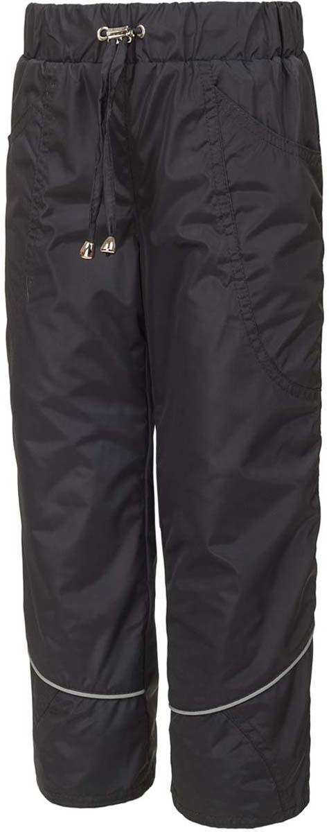Брюки утепленные для девочки M&D, цвет: серый. БР00005Ф20. Размер 152БР00005Ф20Утепленные брюки от M&D выполнены из плащевой ткани на подкладке из флиса. Модель с эластичной резинкой на талии дополнена регулируемым шнурком. Спереди имеются втачные карманы. Спереди брючины дополнены светоотражающими полосками.
