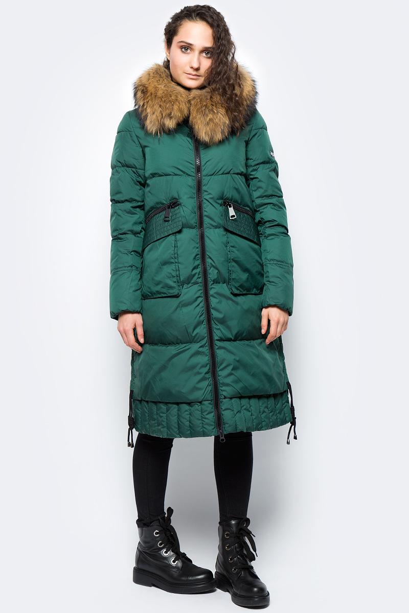 Куртка женская Clasna, цвет: темно-зеленый. CW17D-116CH. Размер L (46)CW17D-116CH(448)Зимний женский пуховик от Clasna выполнен из высококачественного полиэстера с наполнителем из био-пуха. Удлиненная модель с длинными рукавами и капюшоном застегивается на молнию. Капюшон, декорированный опушкой из искусственного меха, не отстегивается. По бокам пуховик дополнен карманами. Имеет внутренний накладной кармашек.