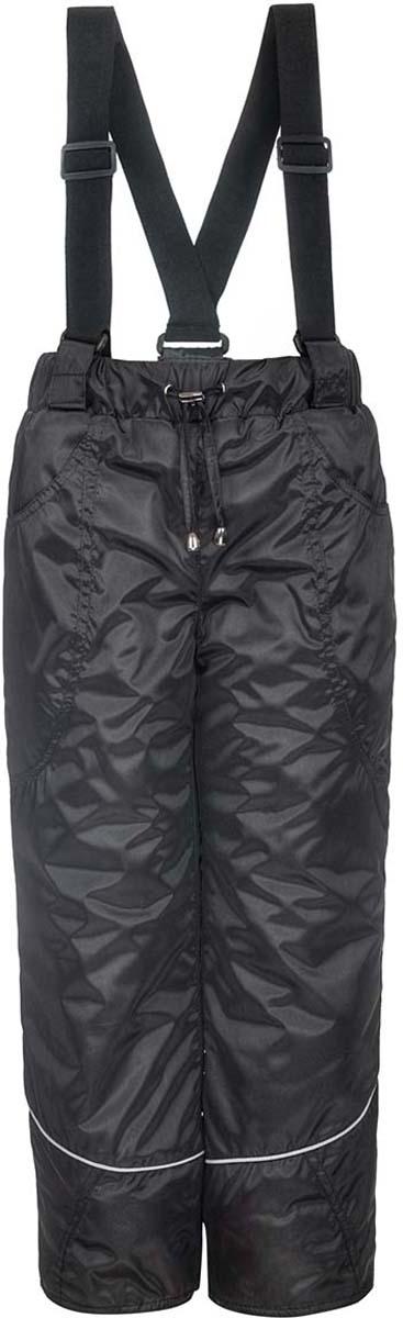 Брюки утепленные детские M&D, цвет: черный. 4БС2051021. Размер 1524БС205121/4БС2051021Утепленные брюки от M&D на синтепоне, с притачным поясом на резинке и регулируемым шнурком. Накладные карманы спереди. По низу брюк снегозащитная манжета на резинке. Отстегивающиеся лямки, регулируемые по длине.