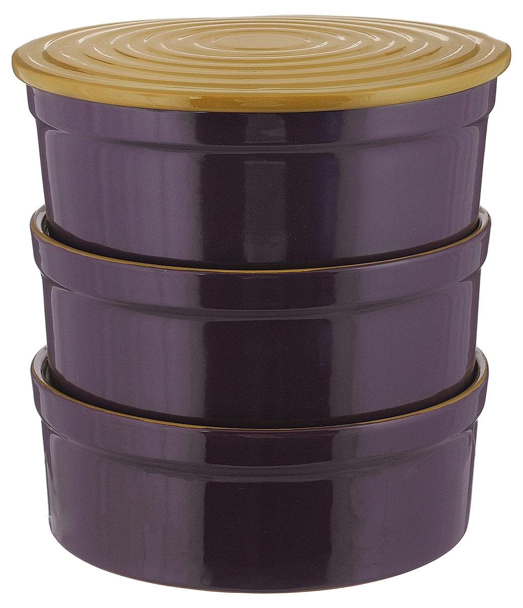 Набор столовой посуды Борисовская керамика Белогорье цвет баклажановый горчичный 4 предмета 3 л