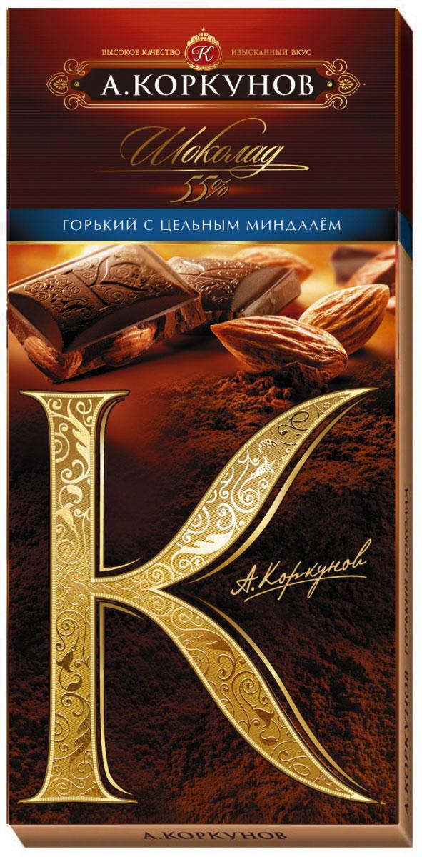 Коркунов горький шоколад с цельным миндалем, 90 г волшебница золотой орех шоколад темный с миндалем 190 г