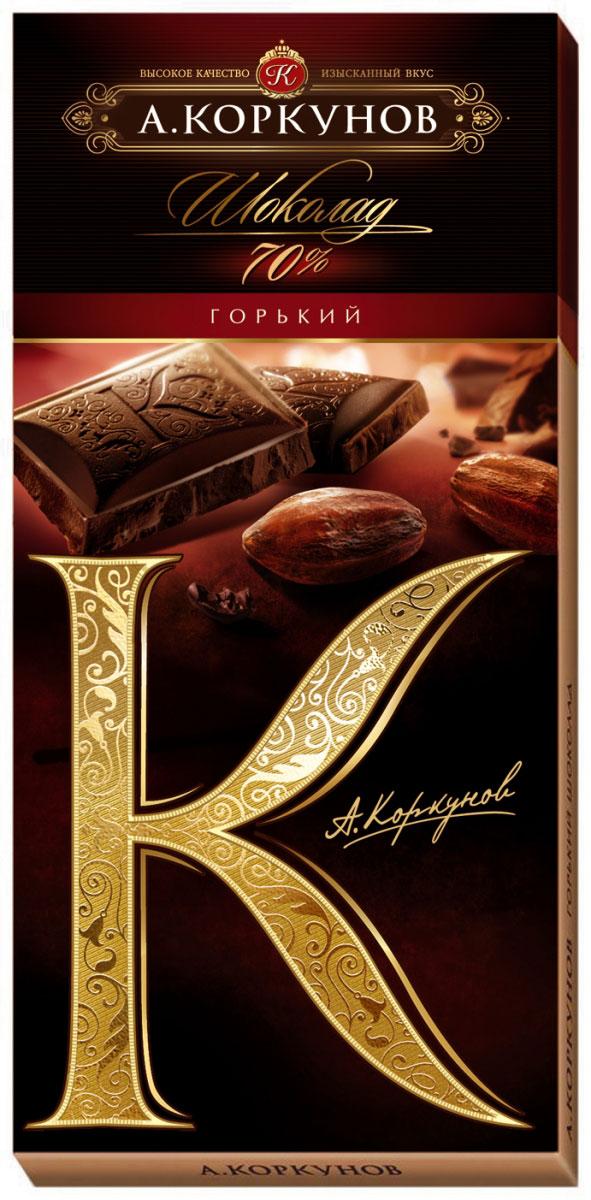 Коркунов горький шоколад 70%, 90 г