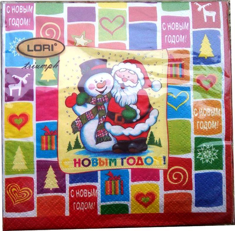 Салфетки бумажные Lori Triumph, трехслойные, цвет: мультиколор, 33 х 33 см, 20 шт. 5626656266Декоративные трехслойные салфетки Lori Triumph с ярким рисунком выполнены из 100% целлюлозы. Салфетки станут отличным дополнением новогоднего стола. Они отличаются необычной мягкостью, прочностью и оригинальностью.