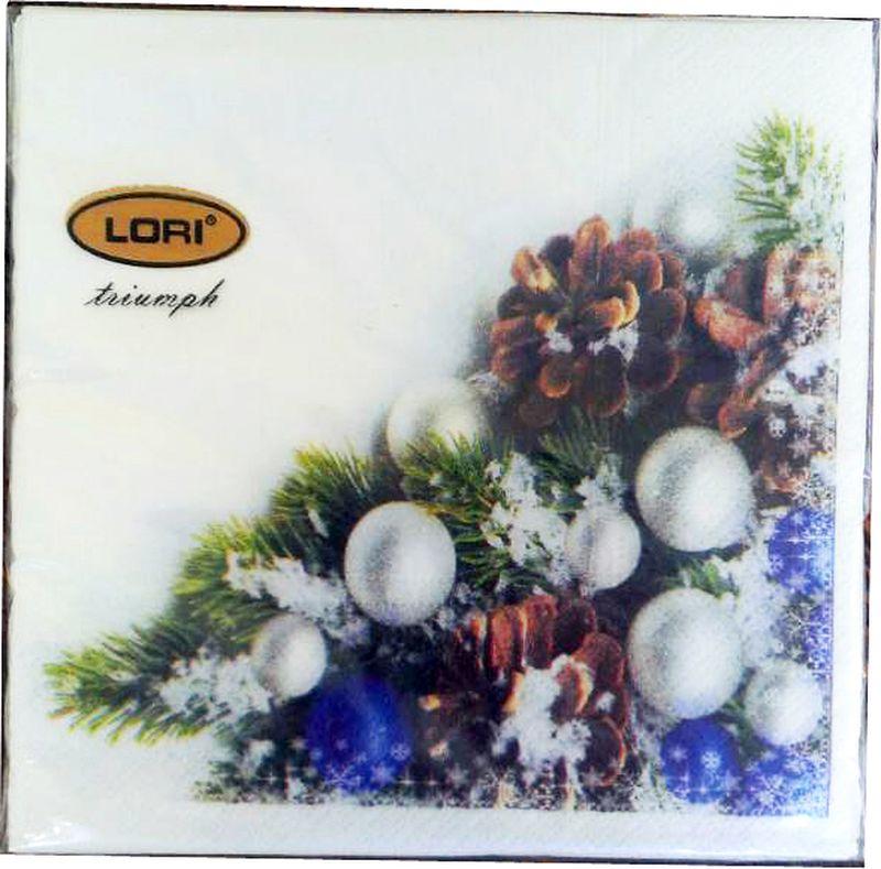 Салфетки бумажные Lori Triumph, трехслойные, цвет: мультиколор, 33 х 33 см, 20 шт. 5661656616Декоративные трехслойные салфетки Lori Triumph с ярким рисунком выполнены из 100% целлюлозы. Салфетки станут отличным дополнением новогоднего стола. Они отличаются необычной мягкостью, прочностью и оригинальностью.