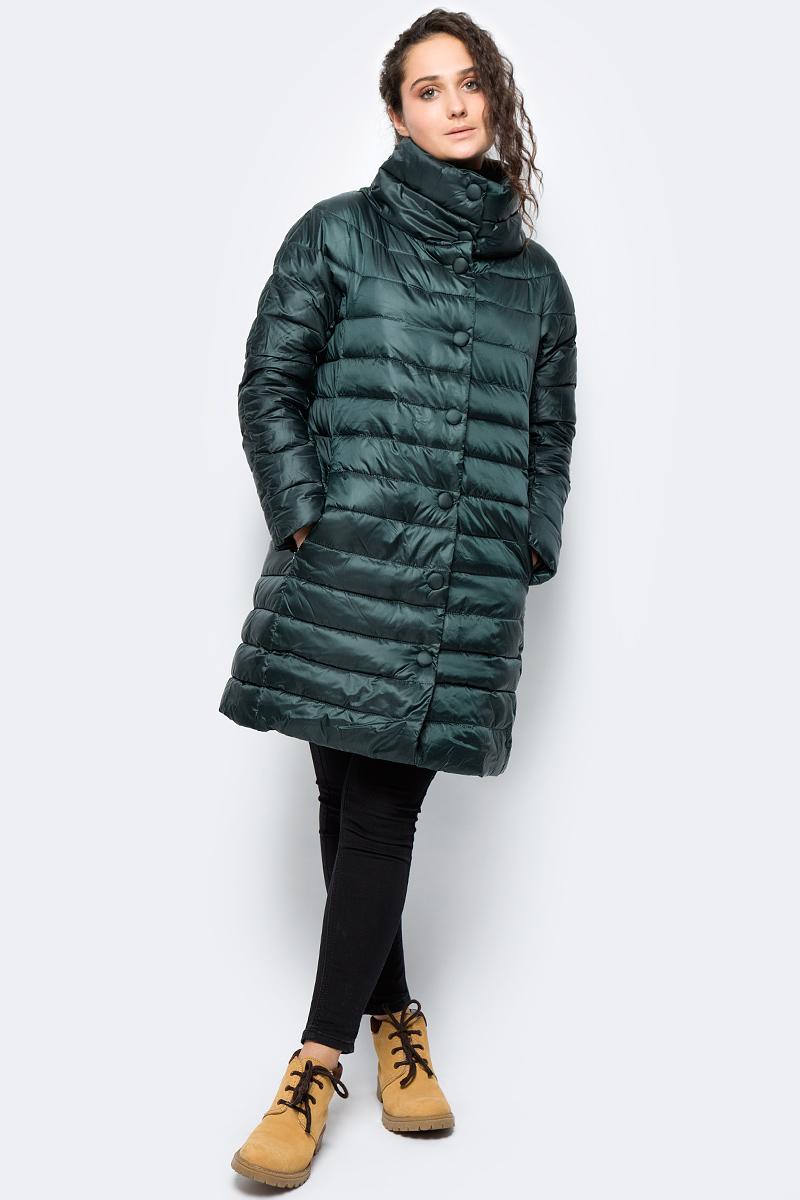 Куртка женская adL, цвет: темно-зеленый. 15232183001_046. Размер S (42/44)15232183001_046Утепленная куртка adL выполнена из 100% полиэстера на утеплителе из синтепона. Модель с длинными рукавами и воротником-стойкой застегивается на молнию с ветрозащитной планкой на кнопках. Спереди куртка дополнена двумя прорезными карманами на застежках-молниях.