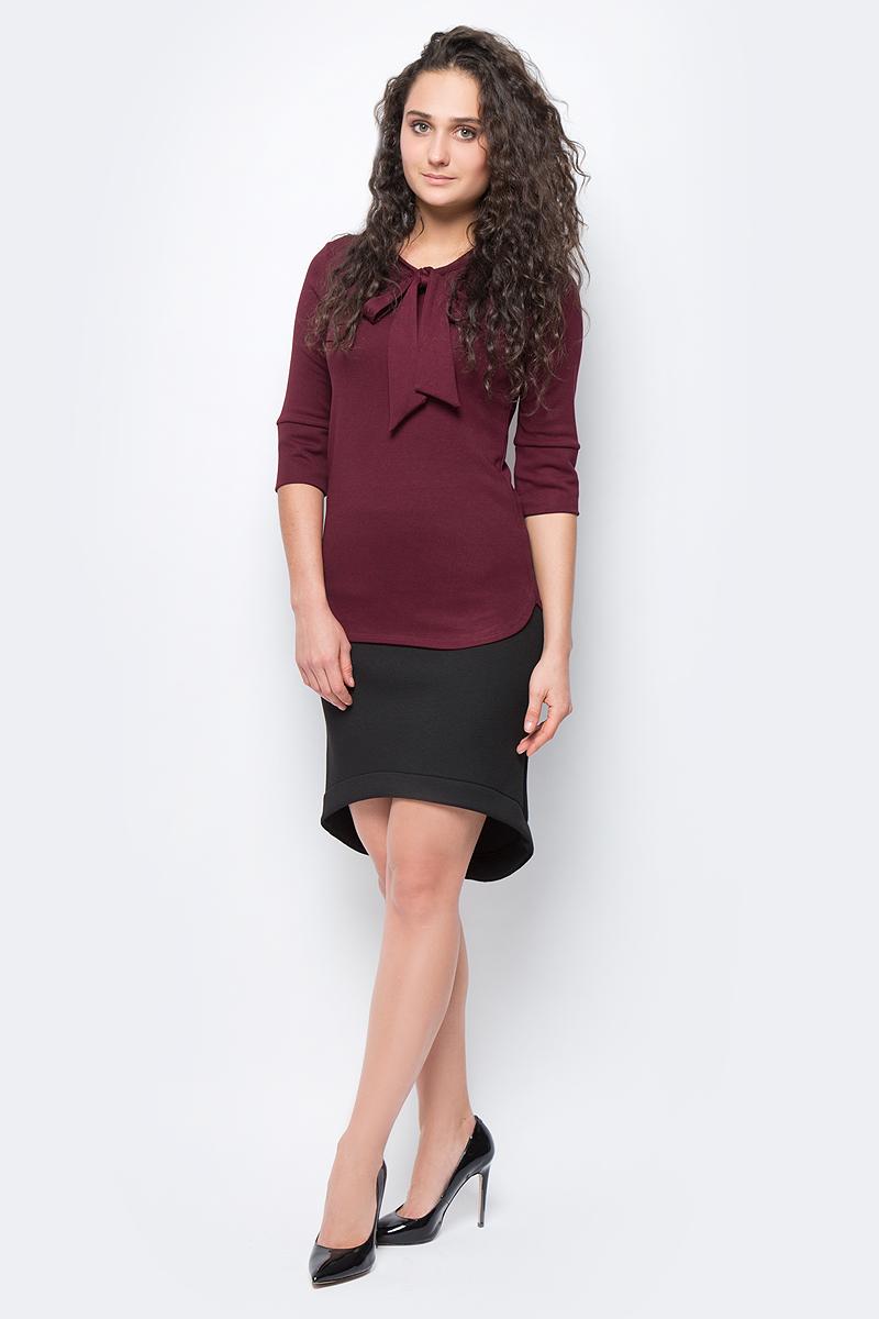 Блузка женская adL, цвет: бордовый. 11533252000_012. Размер S (42/44)11533252000_012Стильная блузка выполнена из комбинированного приятного материала. Модель с круглым вырезом горловины и рукавами ? отлично дополнит ваш образ.