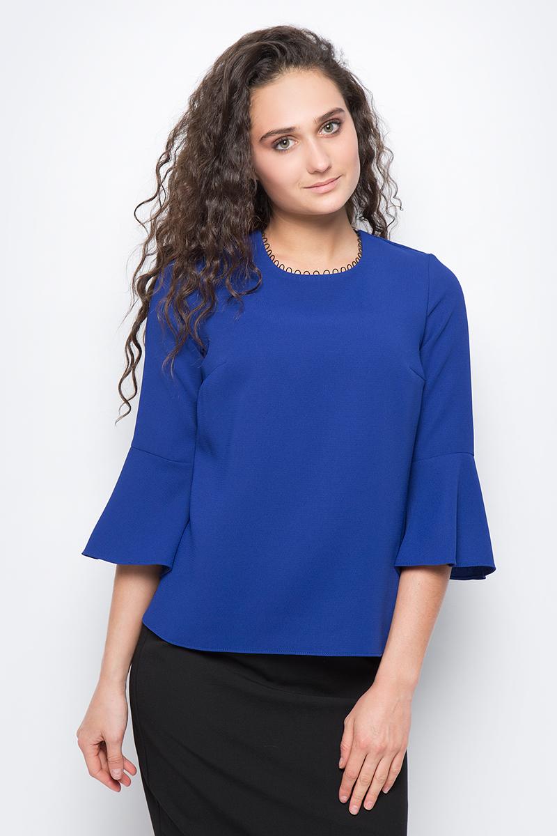 Блузка женская adL, цвет: синий. 11532377000_022. Размер XS (40/42)11532377000_022Стильная блузка, выполненная из 100% полиэстера, отлично дополнит ваш образ. Модель с круглым вырезом горловины и рукавами 7/8 клешеными к низу.