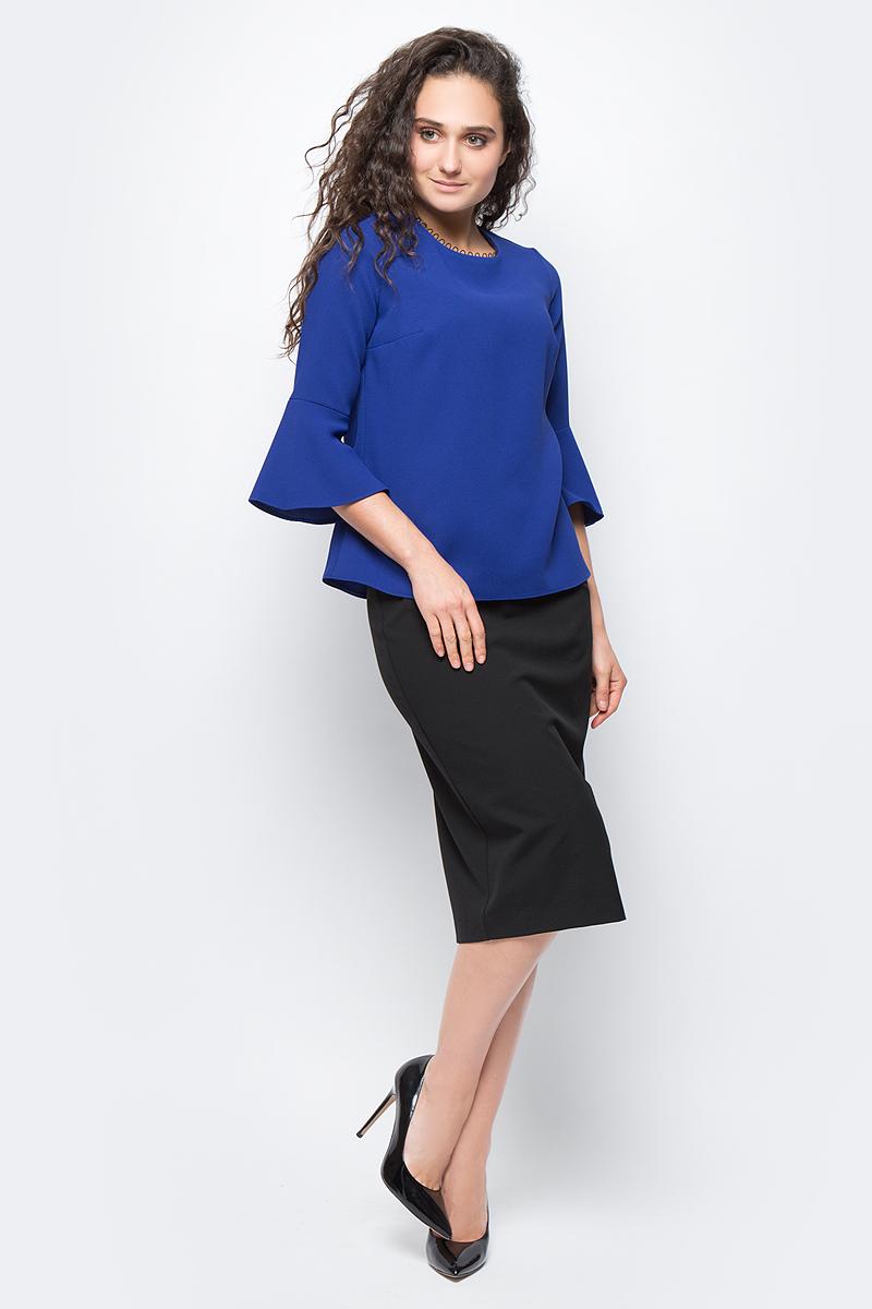 Блузка женская adL, цвет: синий. 11532377000_022. Размер M (44/46)11532377000_022Стильная блузка, выполненная из 100% полиэстера, отлично дополнит ваш образ. Модель с круглым вырезом горловины и рукавами 7/8 клешеными к низу.