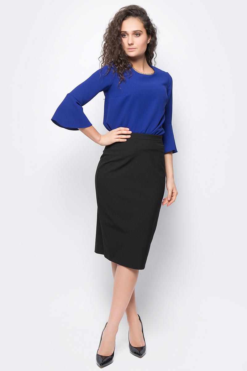 Юбка женская adL, цвет: черный. 12732327000_001. Размер XS (40/42)12732327000_001Стильная юбка-карандаш, выполненная из комбинированного материала, отлично дополнит ваш классический образ. Модель сзади дополнена потайной застежкой-молнией.