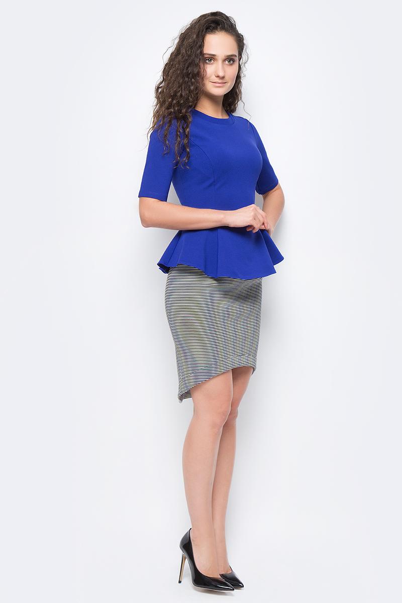 Блузка женская adL, цвет: голубой. 11524396007_022. Размер M (44/46)11524396007_022Стильная блузка с баской выполнена из комбинированного приятного материала. Модель с круглым вырезом горловины и короткими рукавами отлично дополнит ваш образ.