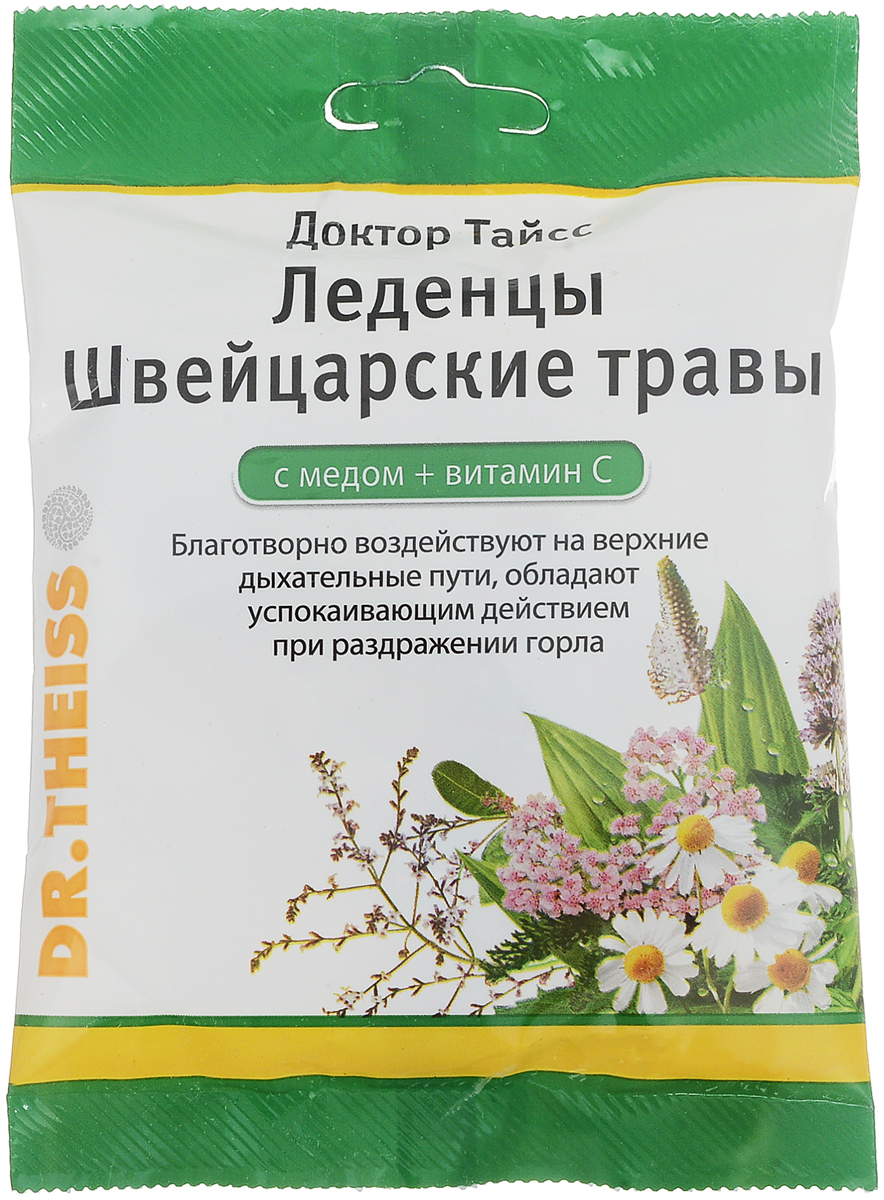 Леденцы Доктор Тайсс Швейцарские травы, с медом + витамин С, 50 г