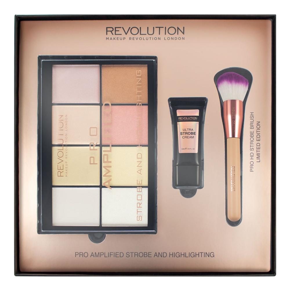 Makeup Revolution Набор для макияжа Amplified Strobe & Highlighting309151В набор входят: • палетка для стробинга Pro Amplified Strobe • крем для стробинга Ultra Strobe Cream • кисть для стробинга Pro HD Strobe.