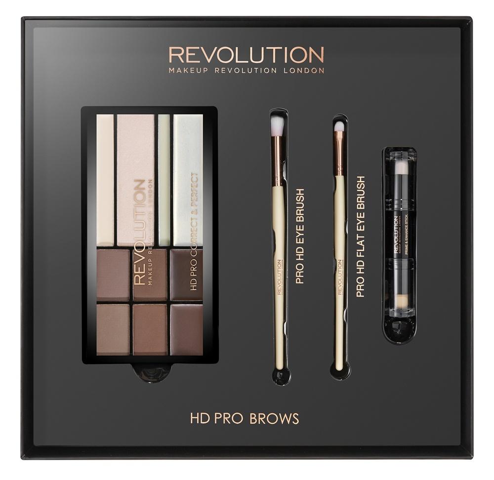 Makeup Revolution Набор для макияжа HD Pro Brows93035Создай идеальную форму бровей продуктами из набора.В набор входят: 4 оттенка теней, два оттенка воска для бровей, хайлайтер, кремовый хайлайтер, 2 кисти, 1 стик с базой и хайлайтером.