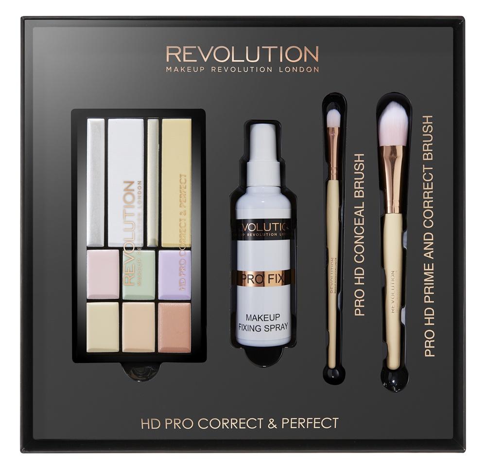 Makeup Revolution Набор для макияжа PRO Correct and Perfect93097В набор входят: • палетка корректоров HD Pro Prime & Correct • спрей для фиксации макияжа Pro Fix • кисть для макияжа Pro HD Prime & Correct • кисть для консилера Pro HD Conceal.