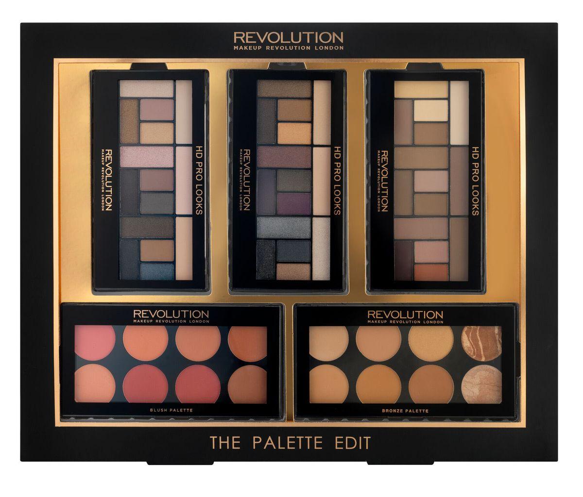 Makeup Revolution Набор для макияжа The Palette Edit017370В набор входят: 3 палетки теней HD PRO LOOKS EYESHADOW PALETTE матовых и шиммерных оттенков, палетка румян BLUSH PALETTE, палетка BRONZE PALETTE.