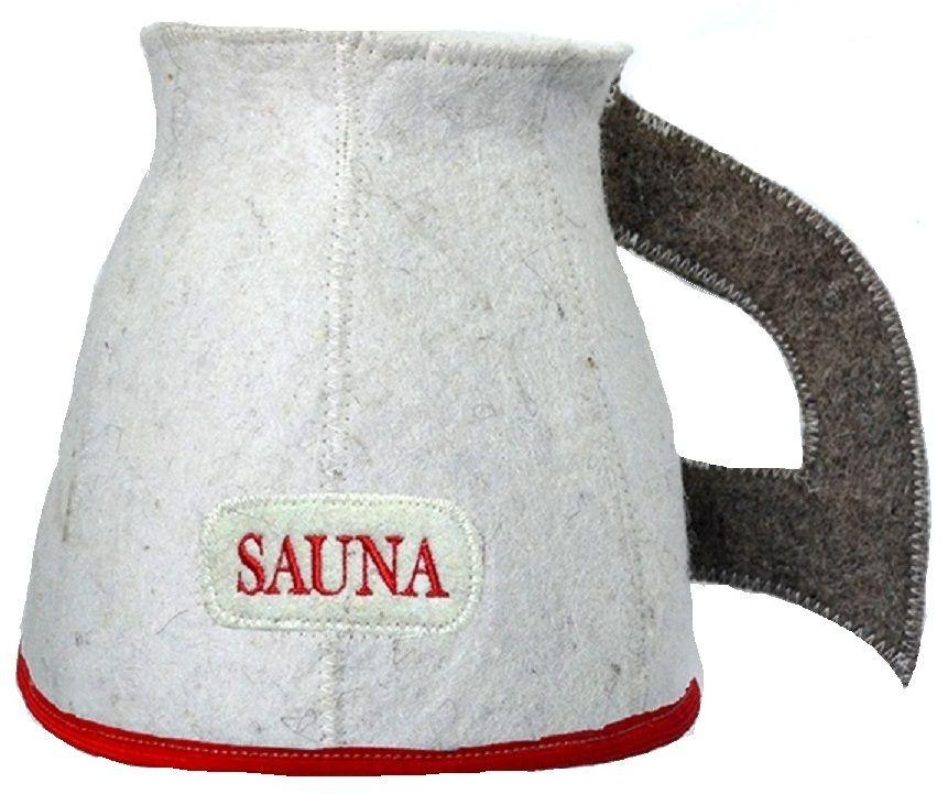 Шапка для бани и сауны Ecology Sauna Кружка, цвет: белый, серый, красныйДЮН-К172-2Необходимый предмет в бане и сауне. Изготовлен из овечий шерсти. Защищает голову от перегрева и ожогов. Прекрасно впитывает влагу и пот. Сделает Ваше посещение парилки комфортным и безопасным. Колпак для сауны не только предохраняет от вредного воздействия, но и является модным аксессуаром. Может быть отличным подарком к празднику .
