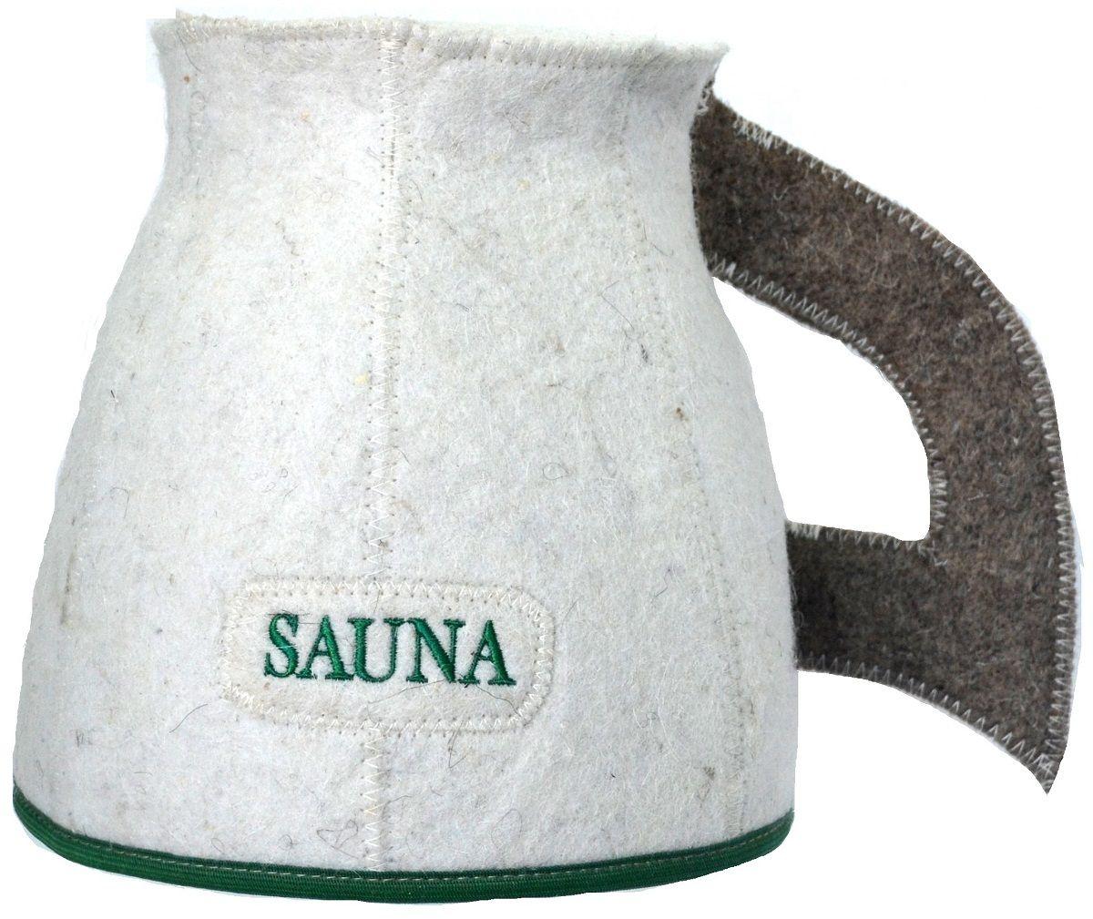 Шапка для бани и сауны Ecology Sauna Кружка, цвет: белый, серый, зеленыйДЮН-К172-3Необходимый предмет в бане и сауне. Изготовлен из овечий шерсти. Защищает голову от перегрева и ожогов. Прекрасно впитывает влагу и пот. Сделает Ваше посещение парилки комфортным и безопасным. Колпак для сауны не только предохраняет от вредного воздействия, но и является модным аксессуаром. Может быть отличным подарком к празднику .