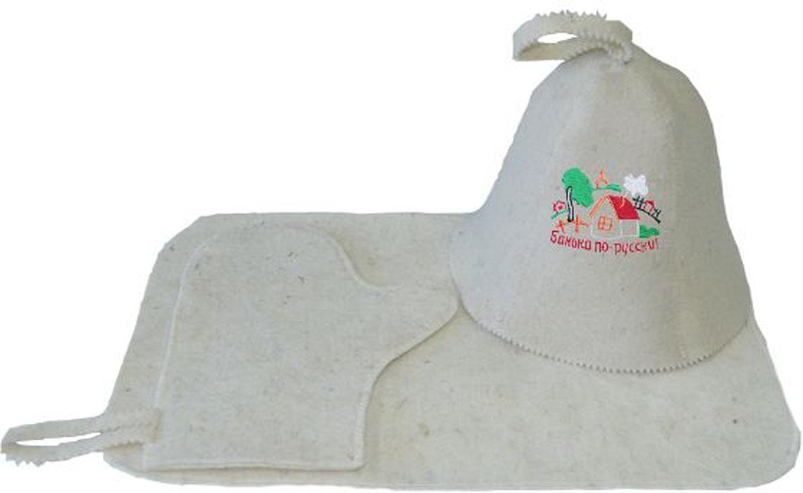 """Набор Ecology Sauna """"Банька по-русски"""" включает в себя все необходимое для посещения сауны. Колпак впитывает пот и защищает голову от перегрева. Коврик защищает от ожогов и бактерий. Рукавица позволяет держать в руке веник и другие горячие предметы.  Все предметы комплекта изготовлены из овечий шерсти."""