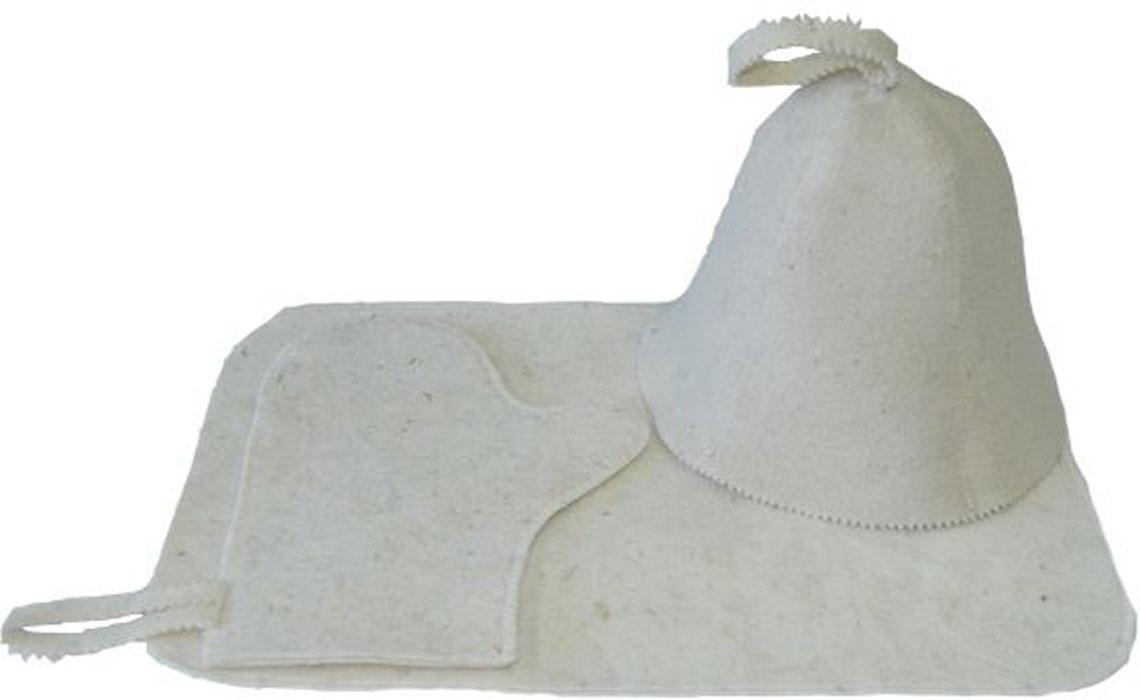 """Набор Ecology Sauna """"Классическая"""" включает в себя все необходимое для посещения сауны. Колпак впитывает пот и защищает голову от перегрева. Коврик защищает от ожогов и бактерий. Рукавица позволяет держать в руке веник и другие горячие предметы.  Все предметы комплекта изготовлены из овечий шерсти."""