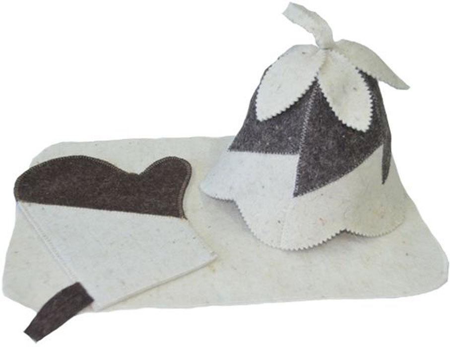 Набор для бани и сауны Ecology Sauna Женский, 3 предметаДЮН-Н132Набор включает в себя всё необходимое для посещения сауны. Колпак впитывает пот и защищает голову от перегрева. Коврик защищает от ожогов и бактерий. Рукавица позволяет держать в руке веник и другие горячие предметы Все предметы комплекта изготовлены из овечий шерсти.