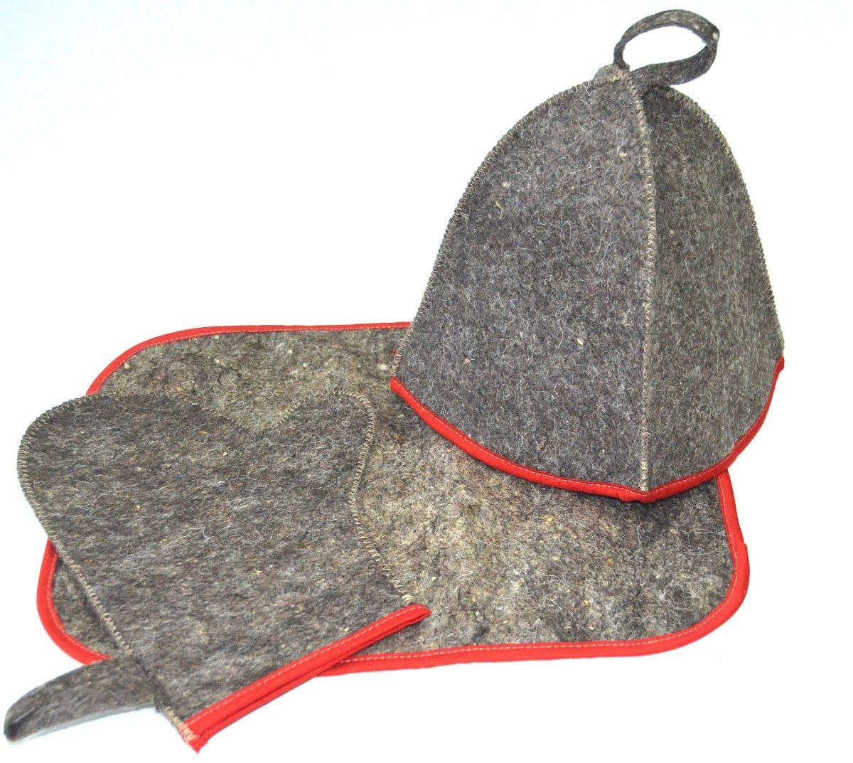 Набор для бани и сауны Ecology Sauna Эконом, 3 предмета, цвет: серый, красный