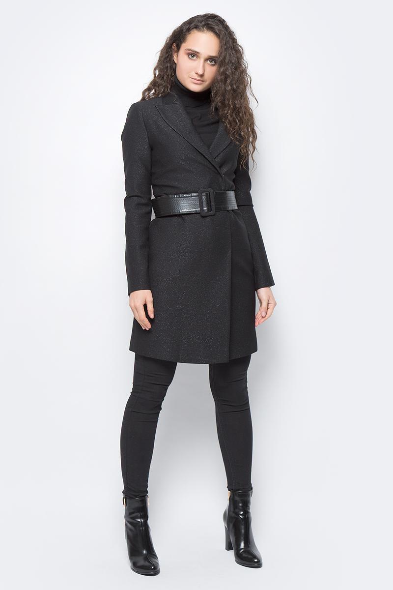 Пальто женское adL, цвет: черный. 12433098000_001. Размер M (44/46)12433098000_001Стильное легкое пальто, выполненное из комбинированного материала на подкладке из полиэстера, отлично дополнит ваш гардероб. Модель с воротником с лацканами и длинными рукавами застегивается спереди на кнопки. Пальто дополнено поясом.