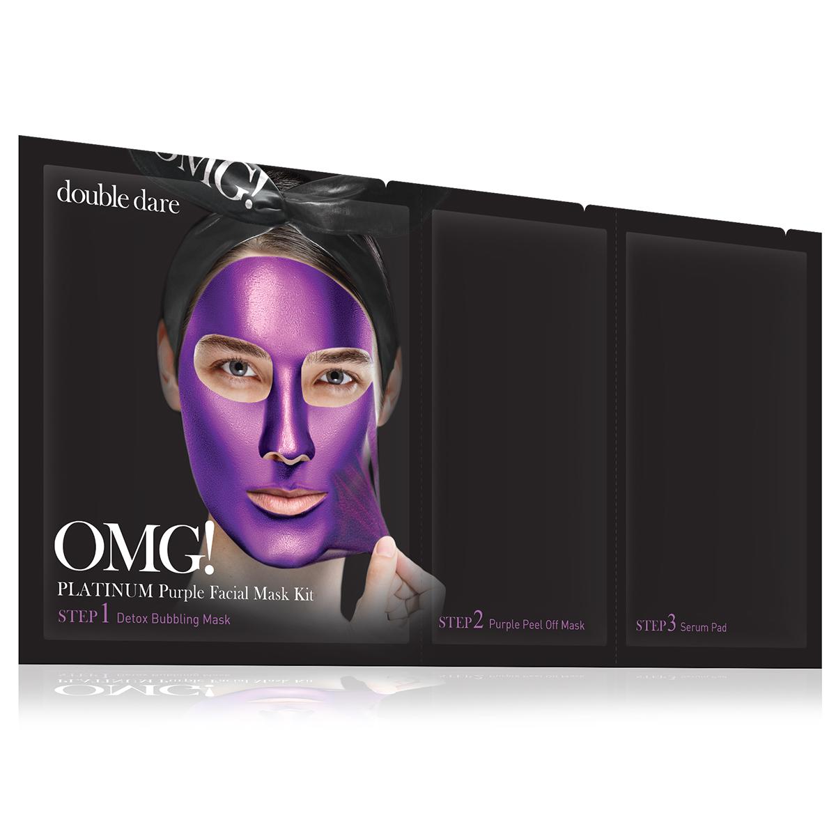 Double Dare OMG! Platinum Purple Facial Mask Kit Маска трехкомпонентная для ухода за кожей лица фиолетовая011845Яркая маска серии Double Dare OMG! Platinum разработана с использованием передовых технологий по очищению лица и уникального состава компонентов.Маска глубоко очищает и увлажняет кожу, придает коже мягкость и свежесть, обладает антивозрастным эффектом.Отличительной чертой фиолетовой маски является присутствие в составе шелковицы и голубики для упругости кожи и сужения пор.Три простых шага для глубокого очищения, улучшения цвета и общего состояния кожи лица!Шаг 1. Детокс кислородная маска для глубокого очищения.Кислородная маска-детокс аккуратно очищает кожу и придает лицу свежесть и сияние.Способ применения:Нанесите маску на кожу до или после снятия макияжа. Оставьте маску на лице на 1-3 минуты. Тщательно смойте маску водой и высушите лицо.Состав:Water, Glycerin, Cocamidopropyl Betaine, Dipropylene Glycol, Disiloxane, Methyl Perfluorobutyl Ether, Water, Methyl Perfluoroisobutyl Ether, Butylene Glycol, Sodium Cocoyl Apple Amino Acids, Hexylene Glycol, Hydroxyethylcellulose, 1,2-Hexanediol, Sodium Chloride, Ethylhexylglycerin, Disodium EDTA, Phenoxyethanol, Fragrance.Шаг 2. Очищающая маска-пленка.Нежная маска-пленка с шелковицей и голубикой для упругости кожи и сужения пор.Способ применения:Нанесите тонкий ровный слой маски на лицо. Оставьте маску на лице на 20-30 минут до полного высыхания. Очистите лицо от маски.Состав:Water, Polyvinyl Alcohol, Alcohol, Dipropylene Glycol, Mica, Titanium Dioxide, Synthetic Fluorphlogopite, Polysorbate 20, Xanthan Gum, Butylene Glycol, Glycerin, Polymethylsilsesquioxane, Isohexadecane, Dimethicone, Steareth-21, Steareth-2, Ficus Carica (Fig) Fruit/Leaf Extract, Ulmus Davidiana Root Extract, Diospyros Kaki Leaf Extract, Houttuynia Cordata Extract, Eriobotrya Japonica Leaf Extract, Laminaria Japonica Extract, Chlorella Vulgaris Extract, Undaria Pinnatifida Extract, PEG-40 Stearate, Cetearyl Methicone, Montmorillonite, Iron Ox