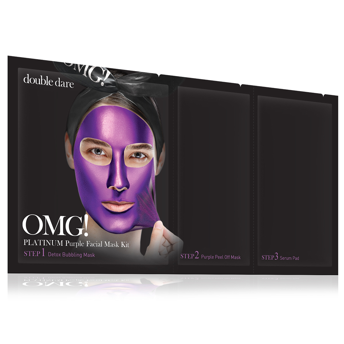 Double Dare OMG! Platinum Purple Facial Mask Kit Маска трехкомпонентная для ухода за кожей лица фиолетовая double dare omg маска трехкомпонентная для восстановления волос 3in1 kit hair repair system